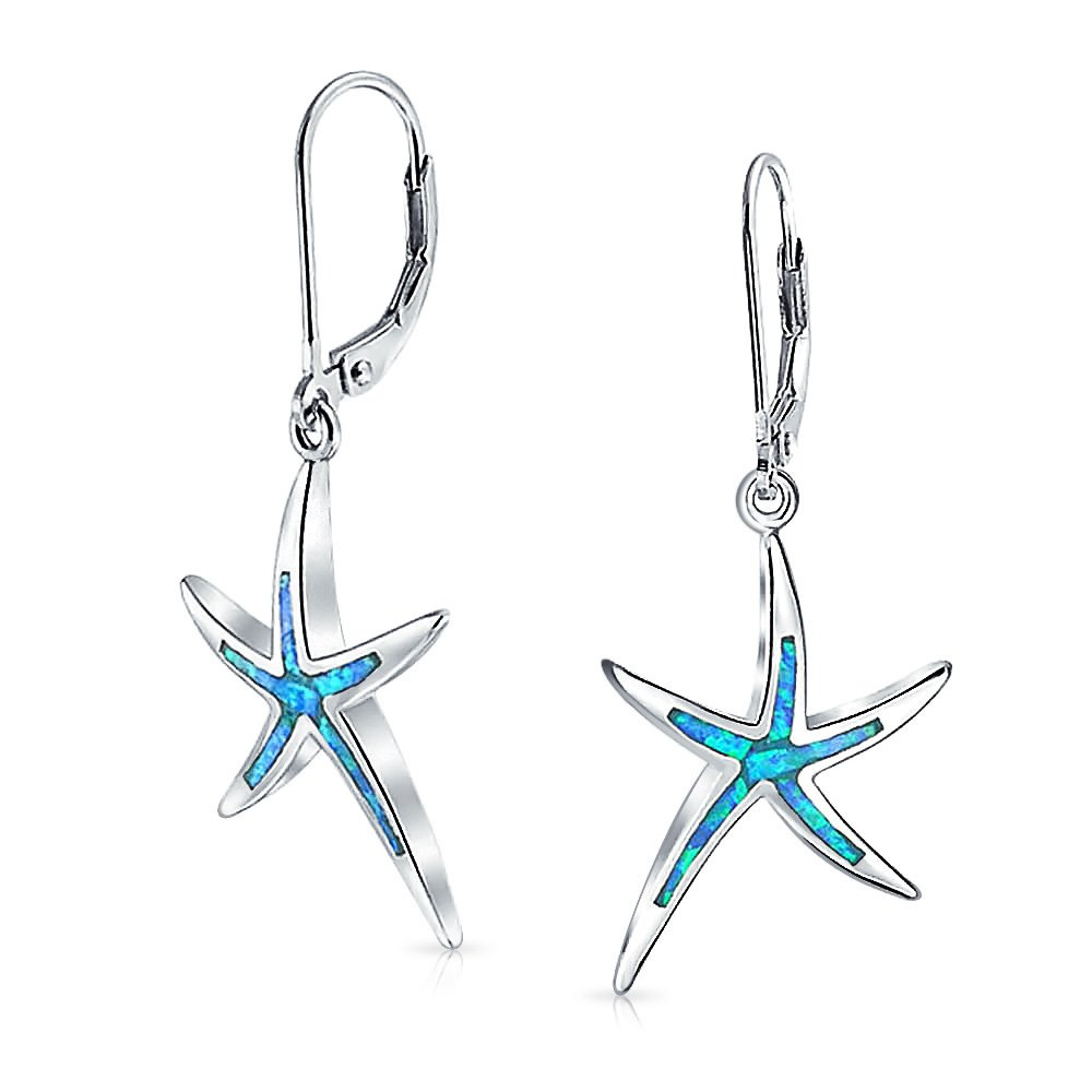 Bling Jewelry Long Synthetic Blue Opal Inlay Starfish Drop Sterling Silver Leverback Earrings XNY-ES0790A1