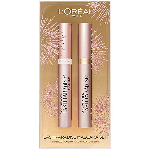 L'Oreal Paris Cosmetics Lash Paradise Lash Primer & Mascara Holiday Kit, Thickens Lashes And Helps Enhance Mascara Wear, Blackest Black and Millennial Pink, 2 Count (Loreal Double Lash Mascara)