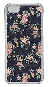 Hard Platic Transparent PC Case Cover for iPhone 5C,Retro Floral Rose Pattern Case for iPhone 5C,Dark Case for iPhone 5C