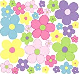 Pastel Daisy Flower Wall Stickers, Decals, Graphics in Purple Pink Green Yellow and Blue