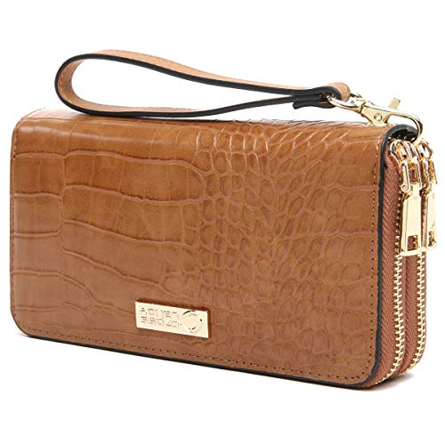 CrossLandy Women RFID Blocking Double Zip Around Wallet Leather Clutch Wristlet ()