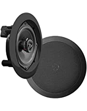 Pyle PDIC51RDBK in-Wall/in-Ceiling Dual 5.25-inch Speaker System, 2-Way, Flush Mount, Black (Pair)