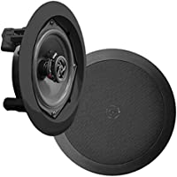 """Pyle Ceiling Wall Mount Speakers - 5.25"""" Pair of 2-Way Midbass Woofer Speaker 1'' Polymer Dome Tweeter Flush Design w…"""