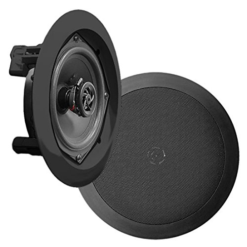 Pyle PDIC51RDBK In-Wall / In-Ceiling Dual 5.25-inch Speaker System, 2-Way, Flush Mount, Black (Pair) Sound Around