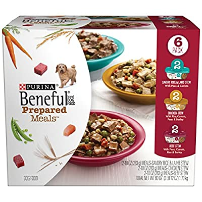 Purina Beneful Prepared Meals Stew Variety Pack Wet Dog Food, (6) 10 oz. Tubs by Purina Beneful