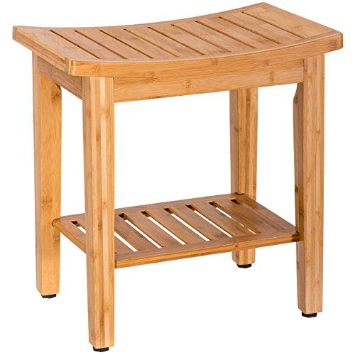 (Giantex 18'' Bamboo Shower Bench Seat w/Storage Shelf Bathroom Seat Spa Bath Organizer Stool Perfect for Indoor)