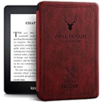 Robustrion Ultra Slim Smart Flip Case Cover for All New Amazon Kindle Paperwhite 10th Generation - Deer Wine Red
