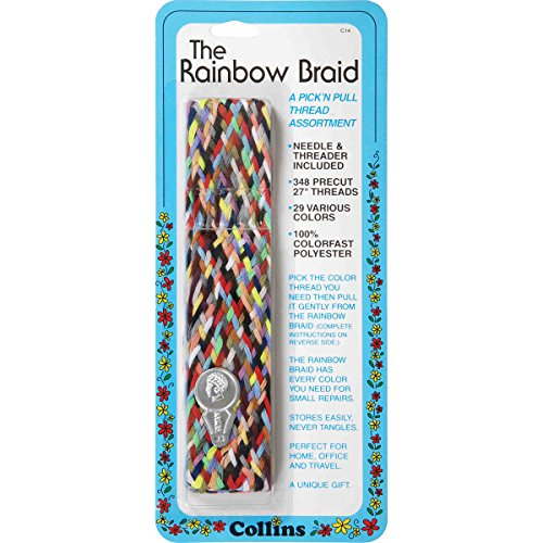 Dritz Collins Rainbow Braid Thread Assortment W/Needle -