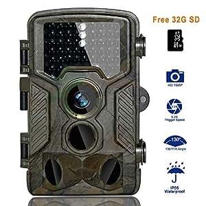 """Cámara de Caza BestoU 16MP 1080P HD Trail Cámara con Visión Nocturna Impermeable IP56 con PIR Infrarrojo Sensor de Movimiento 46 Pcs IR LEDs de 2.4"""" LCD con 32G Tarjeta Micro SD … (Cámara de Caza)"""