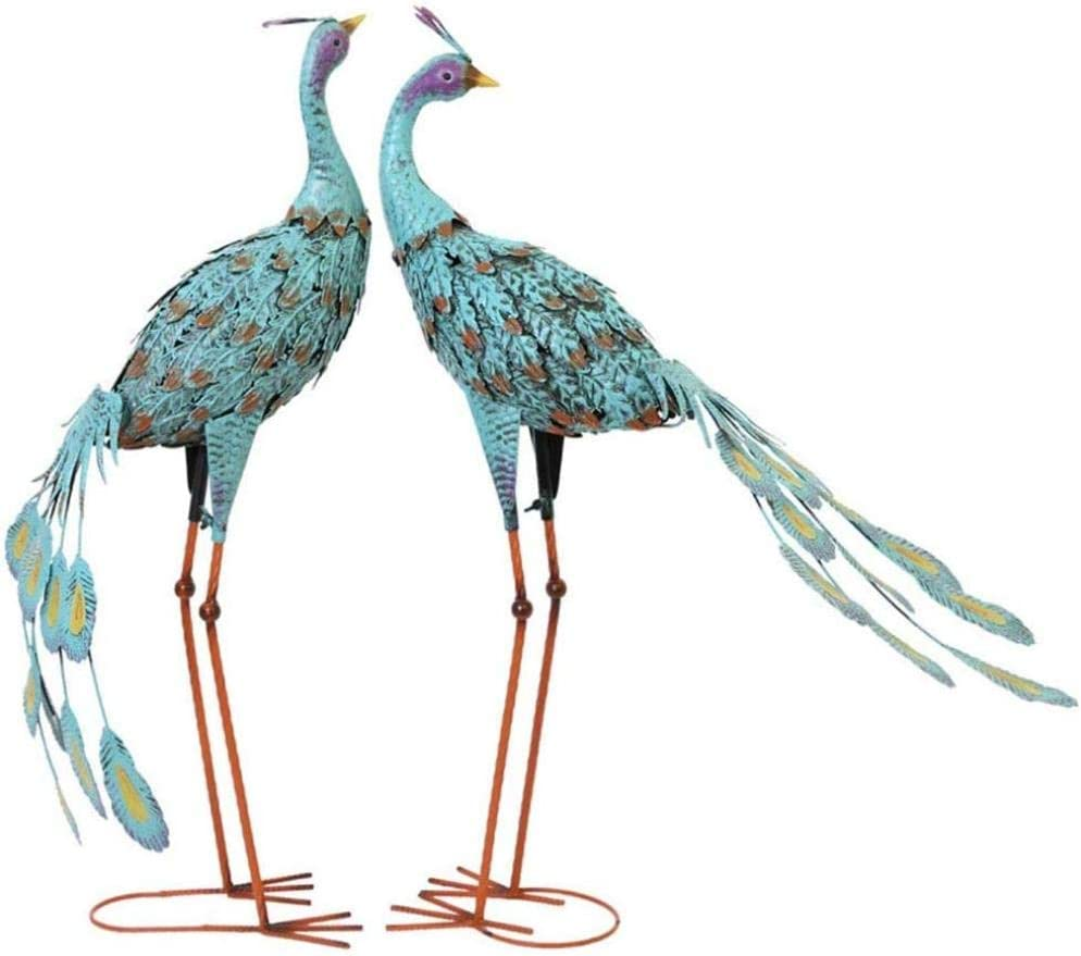 RSRZRCJ Estatuas Figuritas Decorativas Jardín Pavo Real Escultura Azul Pavo Real Pájaro Decoración Jardín Estatua Animal Hierro Forjado Retro Jardín Woodland Decoration-2Pcs