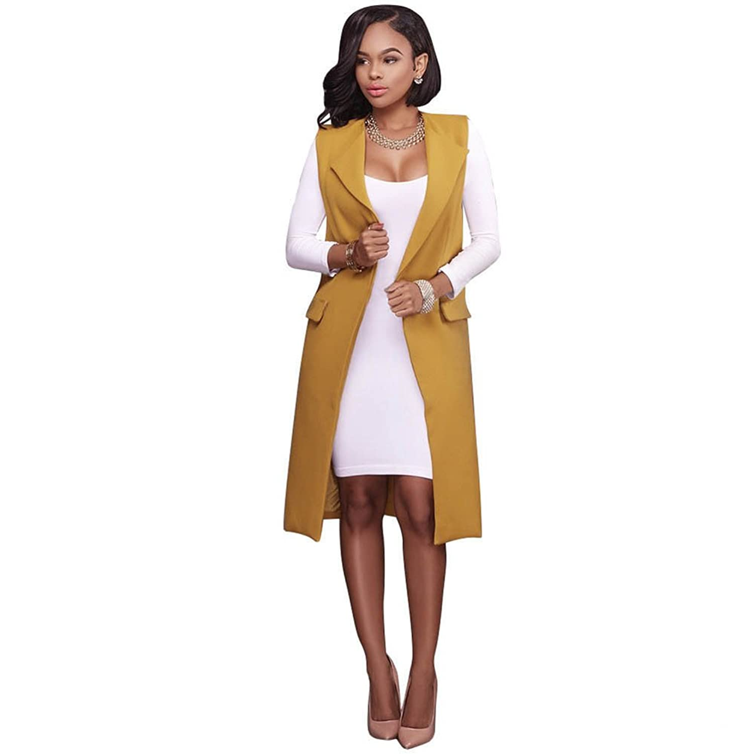 MUYAOO Women Sleeveless Waterfall Cape Lapel Long Cardigan Jacket ...