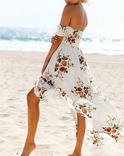 Damen Sommer Kleider Frauen Vintage Boho Blumen Muster Schulterfrei ...