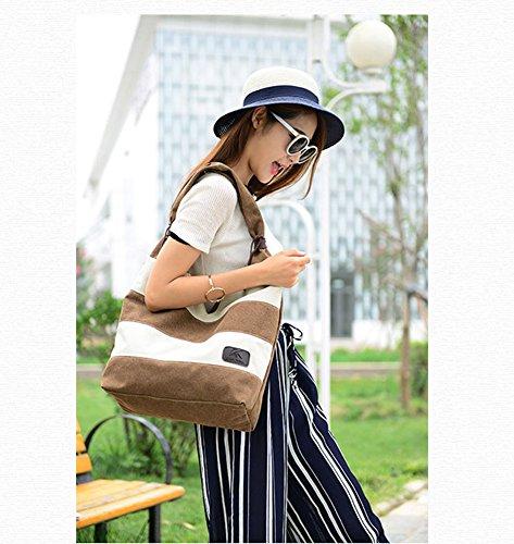 Shopper Canvas Blue Straped Bag Gray Bag Hobo Women's Bag Large Ecokaki Tote Handbag Shoulder wFIqzXO