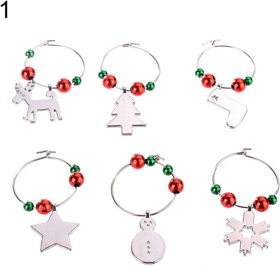 lyhhai dise/ño de Navidad Juego de 6 Colgantes de Cristal para Copas de Vino