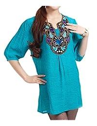Kafeimali Women's Casual Embroidery Bohemian Cotton Tops Shirt Tunic Blouse
