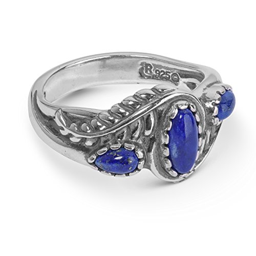 American West Sterling Silver & Lapis Three Stone Leaf Design Ring