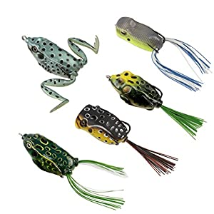 RUNCL Topwater Frog Lures, Soft Fishing Lure Kit with Tackle Box for Bass Pike Snakehead Dogfish Musky (Pack of 5) by RUNCL