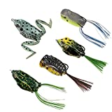 #1: RUNCL Topwater Frog Lures, Soft Fishing Lure Kit with Tackle Box for Bass Pike Snakehead Dogfish Musky (Pack of 5)