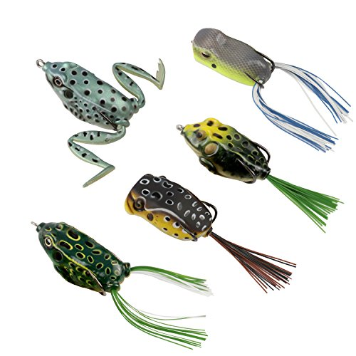 - RUNCL Topwater Frog Lures, Soft Fishing Lure Kit with Tackle Box for Bass Pike Snakehead Dogfish Musky (Pack of 5)