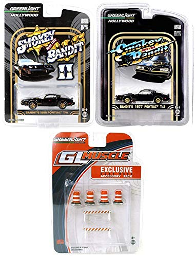 Greenlight Chase Scene Hollywood Classic Movie 2 car Set 1977 Smokey & The Bandit Black Trans Am Bundled with Part 2 Pontiac 1980 Version + Exclusive Road Work Accessories Movie Replica 3 Items