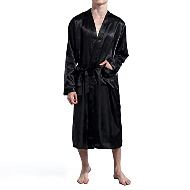 1f7fd96b37 Amzchoice Men V Neck Satin Robe Kimono Long Bathrobe Lightweight Sleepwear  Wedding (S