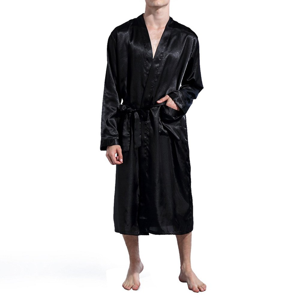 Amzchoice Men V Neck Satin Robe Kimono Long Bathrobe Lightweight Sleepwear Wedding (L, Black)