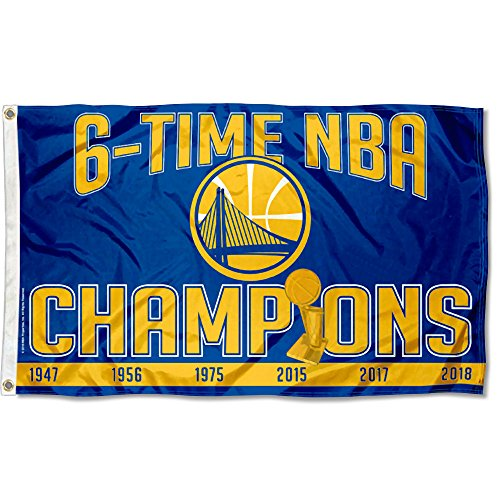 WinCraft Golden State Warriors 6 Time NBA Champions Flag and Banner by WinCraft