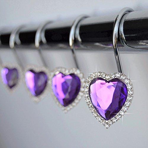 Purple Heart Crystal (Shower Curtain Hooks Rings - Heart Purple Cute Decorative Crystal Diamond Gems Bling Rhinestones Bathroom Bath Set Girl Women Gift Valentine (Purple))