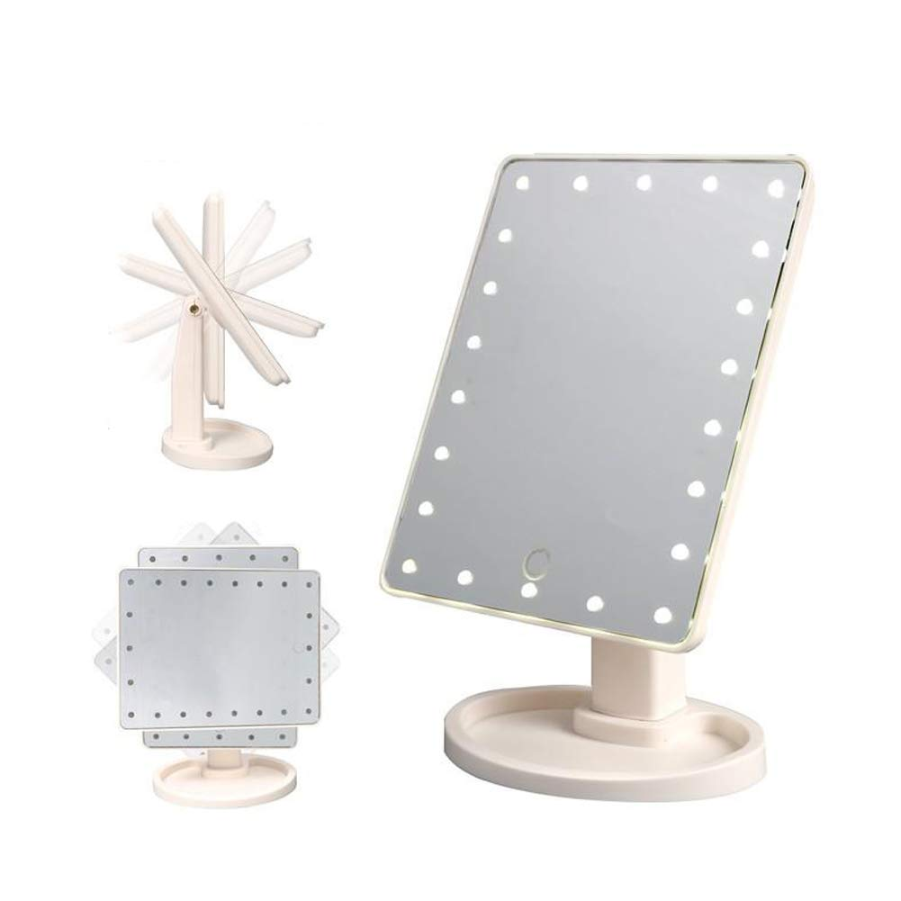 Carejoy Lighted Vanity Mirror 22pcs LED Makeup Mirror Natural Daylight Touch Screen Free Rotation Desktop Countertop Bedroom Bathroom Gifts White