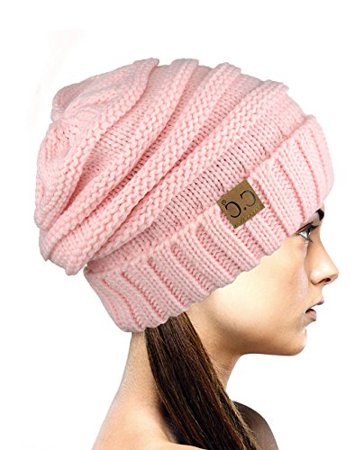 Pink Winter Beanie (NYFASHION101 Exclusive Oversized Baggy Slouchy Thick Winter Beanie Hat - Pale Pink)