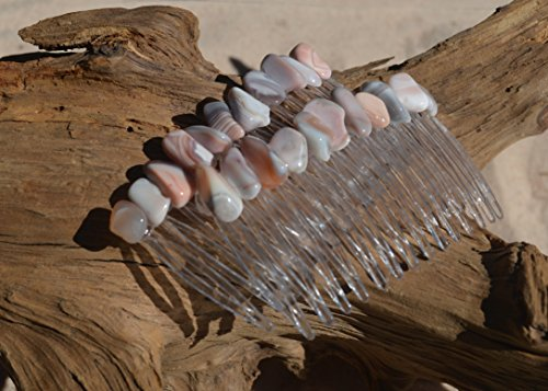 Pink Botswana Agate Stone Hair Combs (Quantity of 2) ()