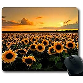 Mouse Pad with Sunflower Field Non-Slip Neoprene Rubber desktop/computer mouse mat. Size: 9 Inch(220mm) X 7 Inch(180mm) X 1/8(3mm) 61 Excellent for All Mouse Types. New material,high quality Steady rubber base.Easy to use.
