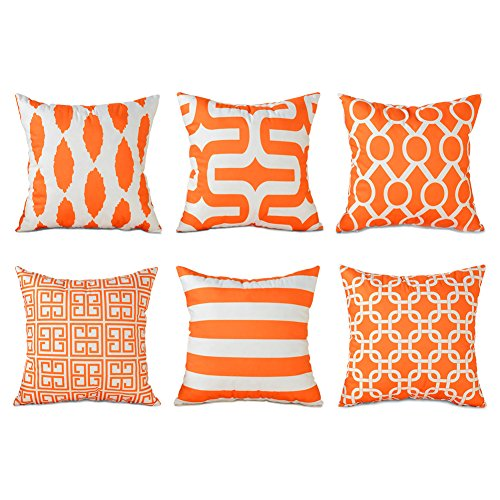 Top Finel Square Decorative Throw Pillow Cases Soft Microfiber Outdoor Cushion Covers 18 X 18 for Sofa Bedroom, Set of 6, Orange ()