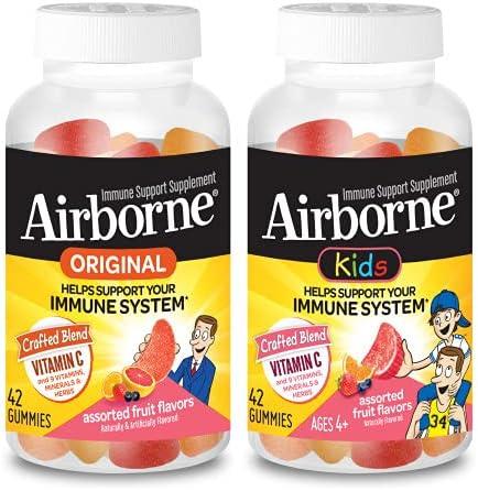 Airborne Adult & Kids Assorted Fruit Flavored Gummies Value Pack-Immune Support Supplement with Vitamin C, Vitamin E, Echinacea & Selenium, Gluten Free, 42 Count (1 Each)