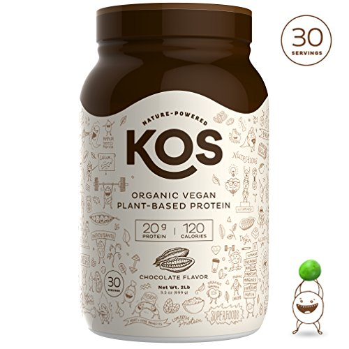 KOS Organic Plant Based Protein Powder Chocolate – Raw Organic Vegan Protein Blend, 2.2 Pound, 30 Servings