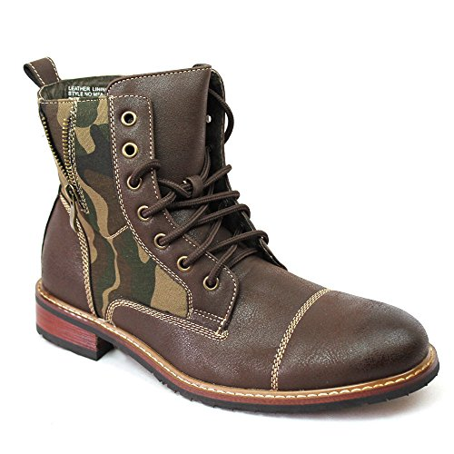 Ferro Aldo MFA-808561A Brown Mens Camouflage Military Lace Up Combat Work Desert Ankle Boot w/ Leather Lining & Zipper (8.5)