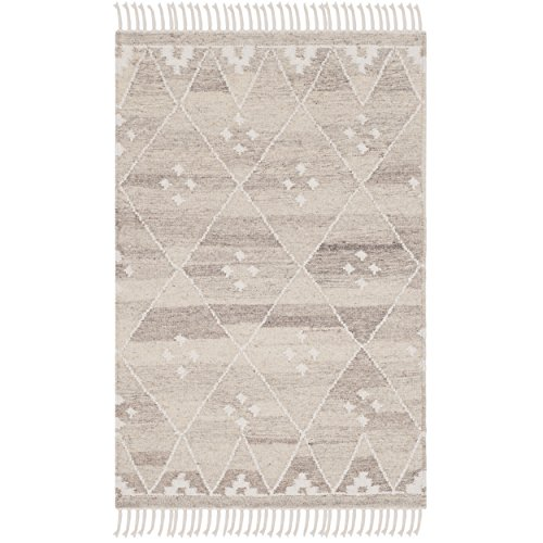 Safavieh Natural Kilim Collection NKM316B Flatweave Natural and Ivory Wool Area Rug (2' x 3')