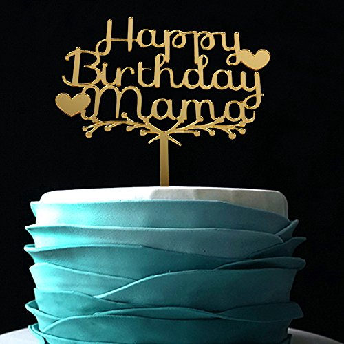 Happy Mama Birthday Acrylic Heart Cake Topper (Gold) -Happy Birthday For Mother Cake Supplies Decorations (gold) (Cake Ideas For Dads Birthday)