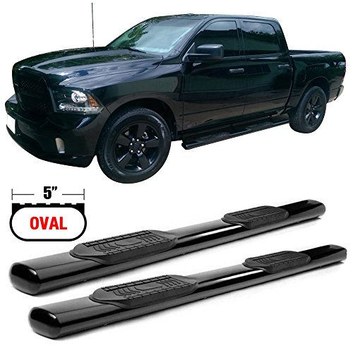 Side Step Bars Fits 2007-2018 Chevy Silverado & GMC Sierra 1500 2500 3500 Crew Cab | New Body Style Black Powder Coat Finish T304 Stainless Steel Running Boards By IKON MOTORSPORTS | 2008 2009 2010