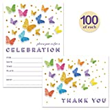 All Occasion Invitations ( 100 ) & Matched Thank You Cards ( 100 ) Set with Envelopes Butterfly Fill-In Invitations Large Family Gathering Office Party Celebration & Folded Thank You Notes Best Value