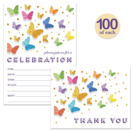 All Occasion Invitations ( 100 ) & Matched Thank You Cards ( 100 ) Set with Envelopes Butterfly Fill-In Invitations Large Family Gathering Office Party Celebration & Folded Thank You Notes Best Value by Digibuddha