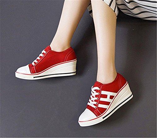 Chaussures Confort Grande Femme 40 Mauea Compensee Basket Tennis Mode 43 41 Lacets Sneakers Toile 42 Décontractées Montante Taille qSU0xA
