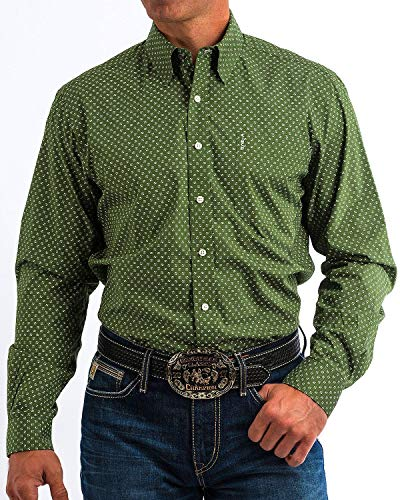 Cinch Men's Modern Fit Long Sleeve Button One Open Pocket Print Shirt, Olive, S (Mens Cinch)