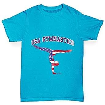Twisted Envy USA Gymnastics Girl's Azure Blue T-Shirt Age 12-14