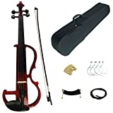 Kinglos 4/4 Red Colored Solid Wood Advanced Electric / Silent Violin Kit with Ebony Fittings Full Size (DSG1803)