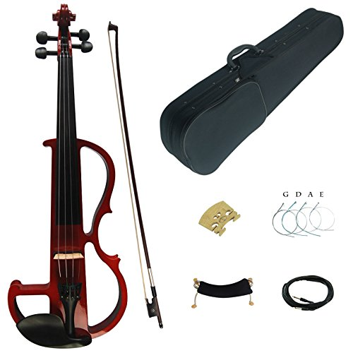 Kinglos 4/4 Red Colored Solid Wood Advanced Electric / Silent Violin Kit with Ebony Fittings Full Size (DSG1803) by Kinglos