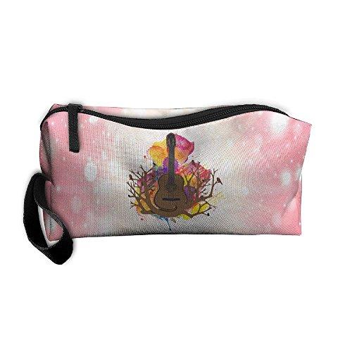 Guitar Musical Tree Root Multi-functional Cosmetic Makeup Bag Zipper Closure Bags Toiletries Organizer -