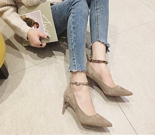 Ajunr Moda/elegante/Transpirable/Sandalias 7cm tacones altos Zapatos de mujer Suede Bien el talón La elegancia Taladro de color Una palabra de la hebilla Zapatos de trabajo Brown ,37 38