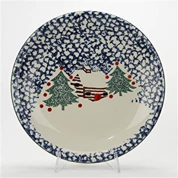 Cabin in The Snow by Tienshan Stoneware Dinner Plate & Amazon.com | Cabin in The Snow by Tienshan Stoneware Dinner Plate ...