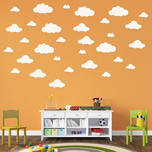 31pcs Large Clouds Wall Decals, E-Scenery Peel and Stick DIY 3D Wall Stickers Mural Art Wallpaper for Kids Room Home Nursery Wedding Party Window Decor, -